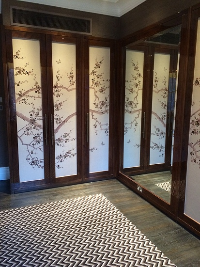 Japanese silk wall covering on wardrobe doors